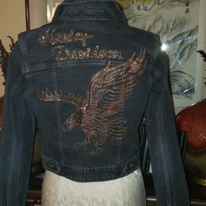 Harley Davidson jean jacket with detail